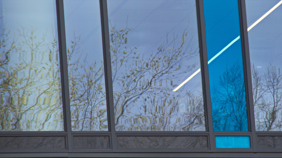 abstract modern design pattern architecture background building futuristic business architectural blue glass window city facade corporation financial office corporate framing reflection trees sky