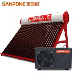 圣普诺(SANPONE) 太空能热水器 太阳能空气能家用商用热泵 一级能效水循环一体机红韵 400L/48管/3.0P/12-14人用 全国包配送/上门安装