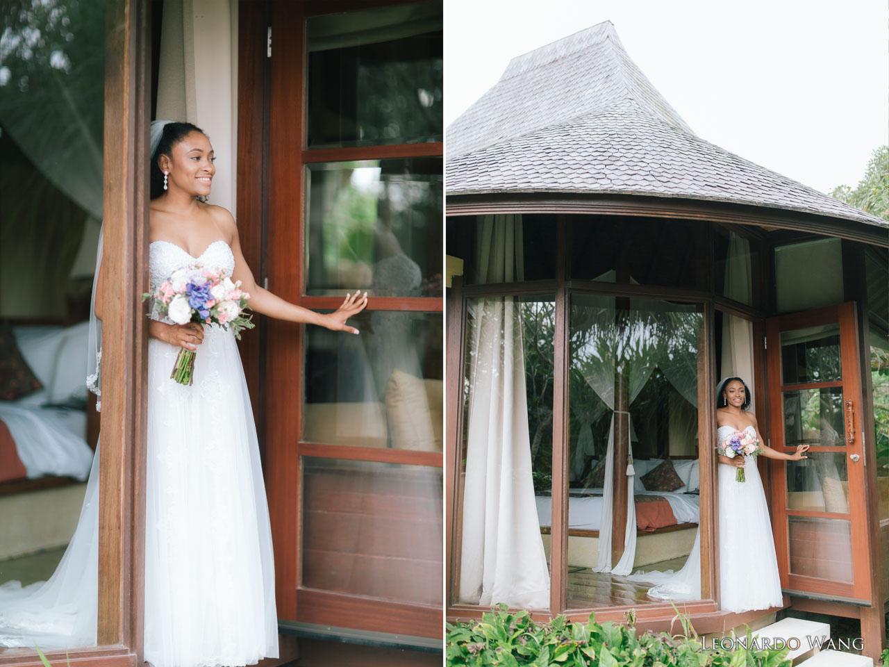 巴厘岛摄影师拍摄的美国大兵的浪漫感人的私人别墅婚礼