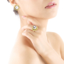 pearl ring+ear stud-gold