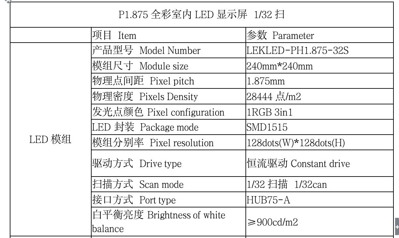 晟科光电p1.875 led模组参数