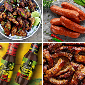 A Yasso Nice! Caribbean Jerk Chicken, Spicy Sausage, and Ribs with Reggae Reggae Sauce