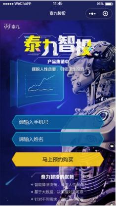 泰九智投理财产品小程序模板