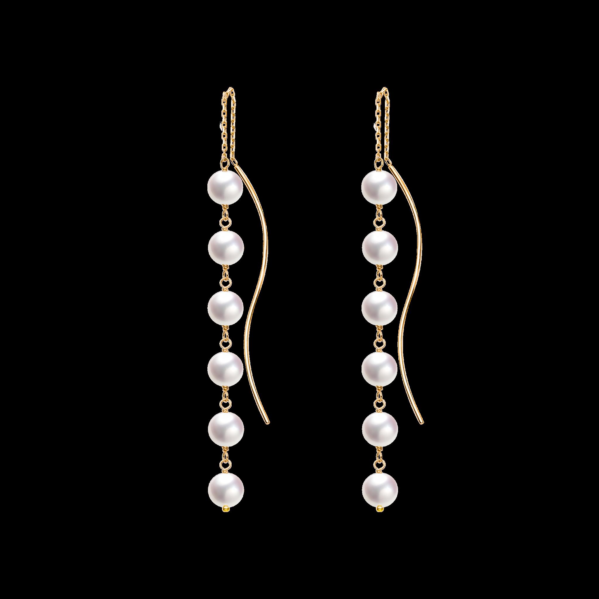 Spuma Collection 10K玫瑰金Akoya珍珠 耳线 2399