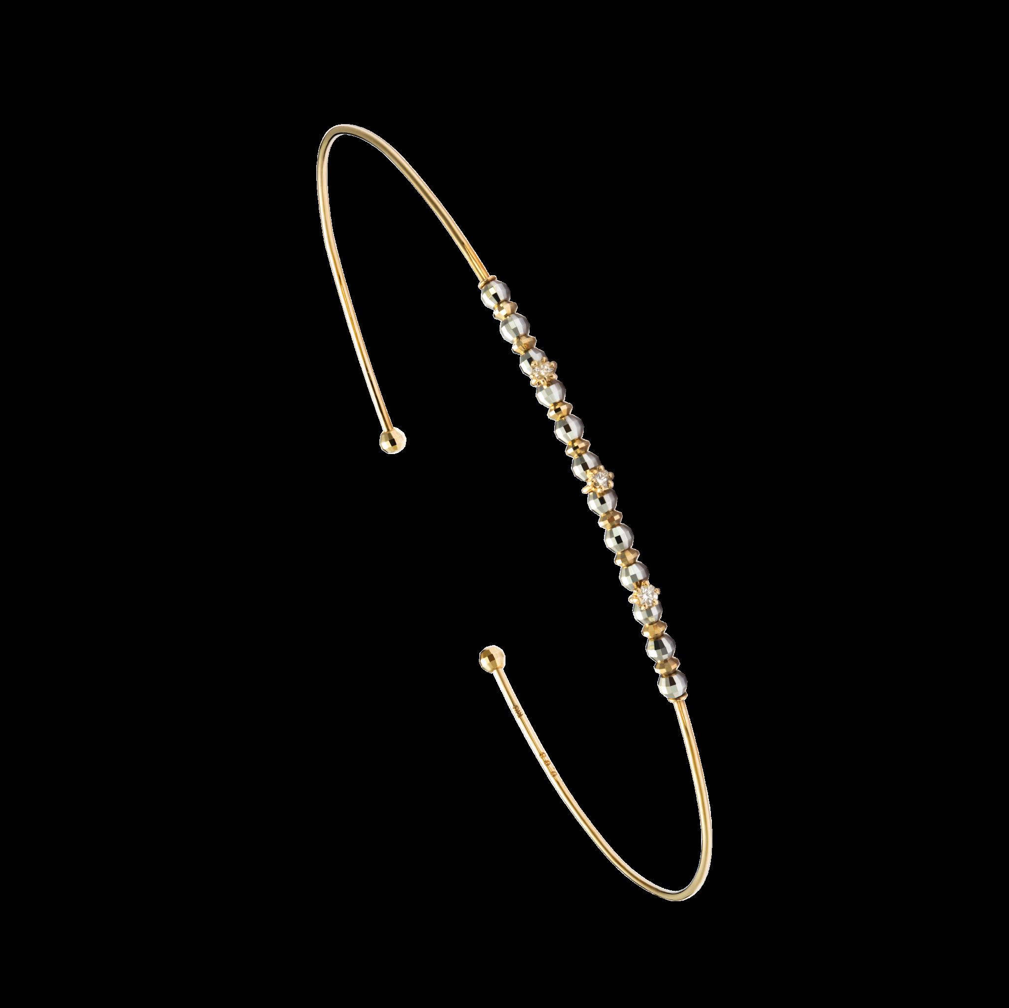 Honey Ball Collection10K黄金 串双色珠镶钻手镯 2399