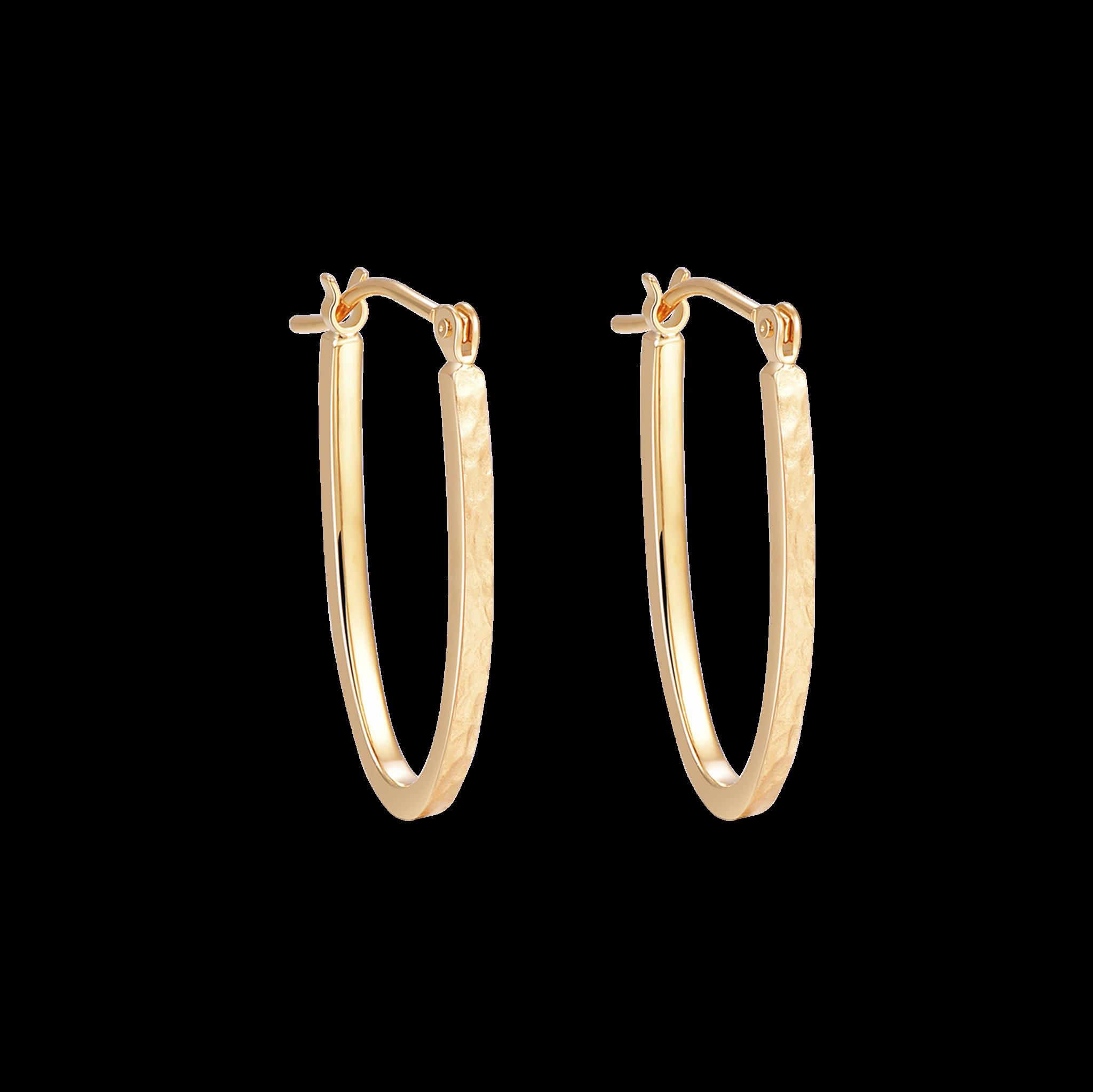 Martelage Collectiob 10K黄金 锤目纹几何耳环 2399