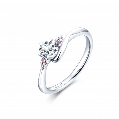 SAKURA Collection PT900 樱花切钻石 镶粉钻戒指 (仅戒托) 17399