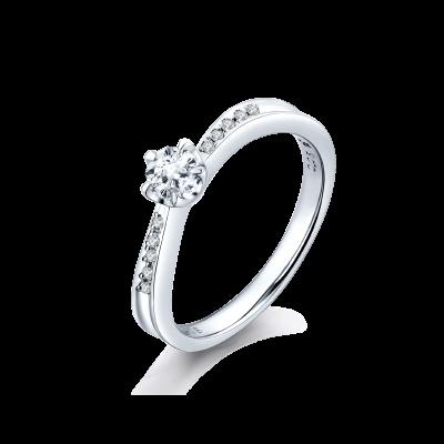 SAKURA Collection PT900 五爪樱花切钻石 扭壁镶钻戒指 (仅戒托) 9699