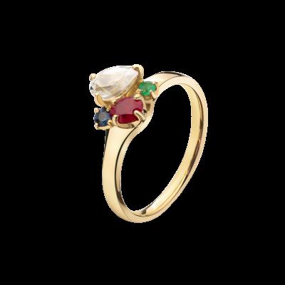 第一件珠宝 蜕变 Collection 18K黄金 彩宝四合一戒指 (切割版) 7699