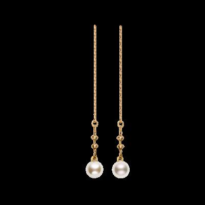 Spuma Collection 18K黄金单颗Akoya珍珠 耳线 1699