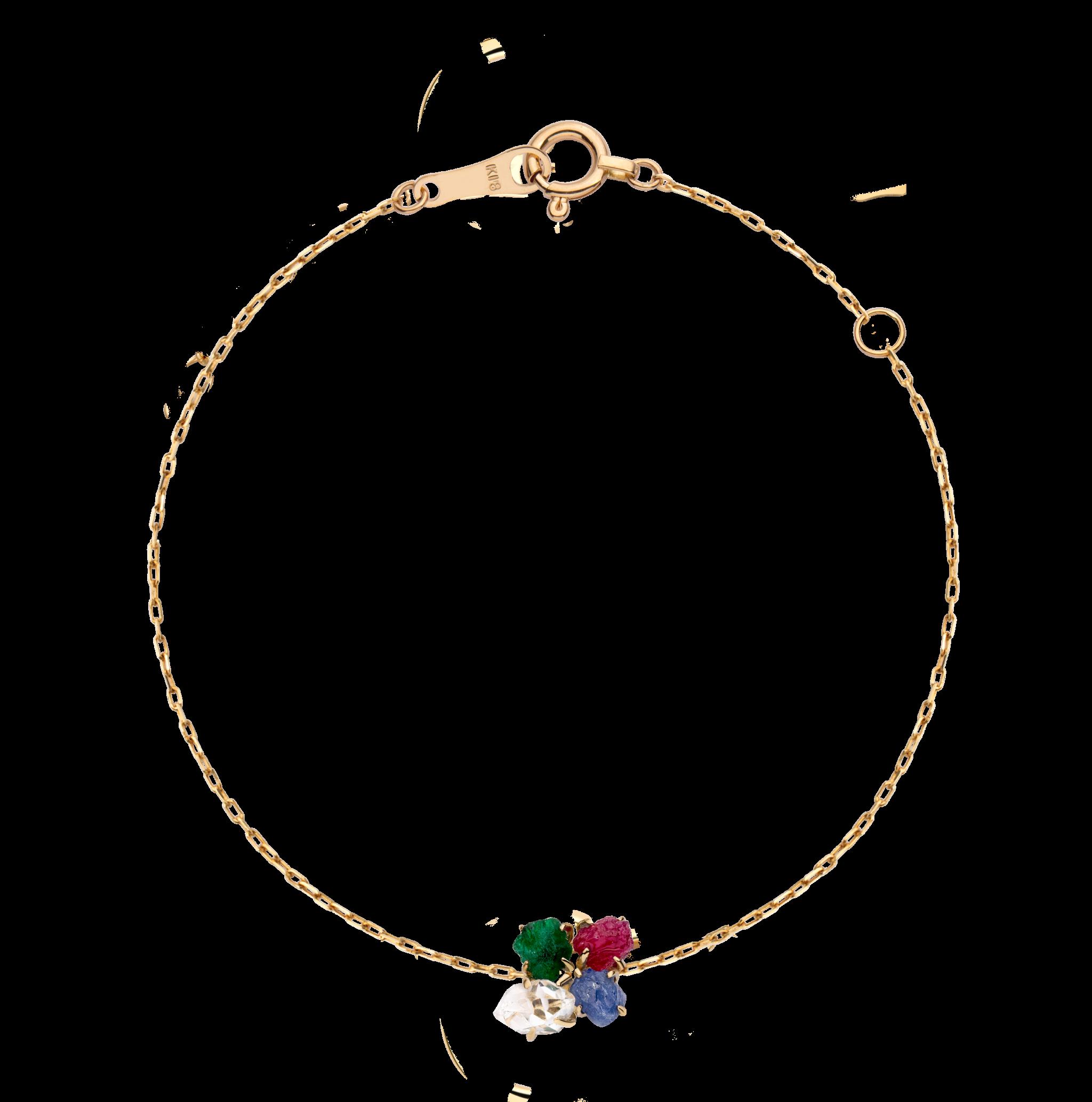 第一件珠宝 蜕变 Collection 18K黄金 四合一彩宝手链 (原石版) 4399