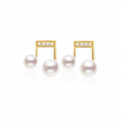 Humming Collection 18K金 珍珠音符耳钉 4199
