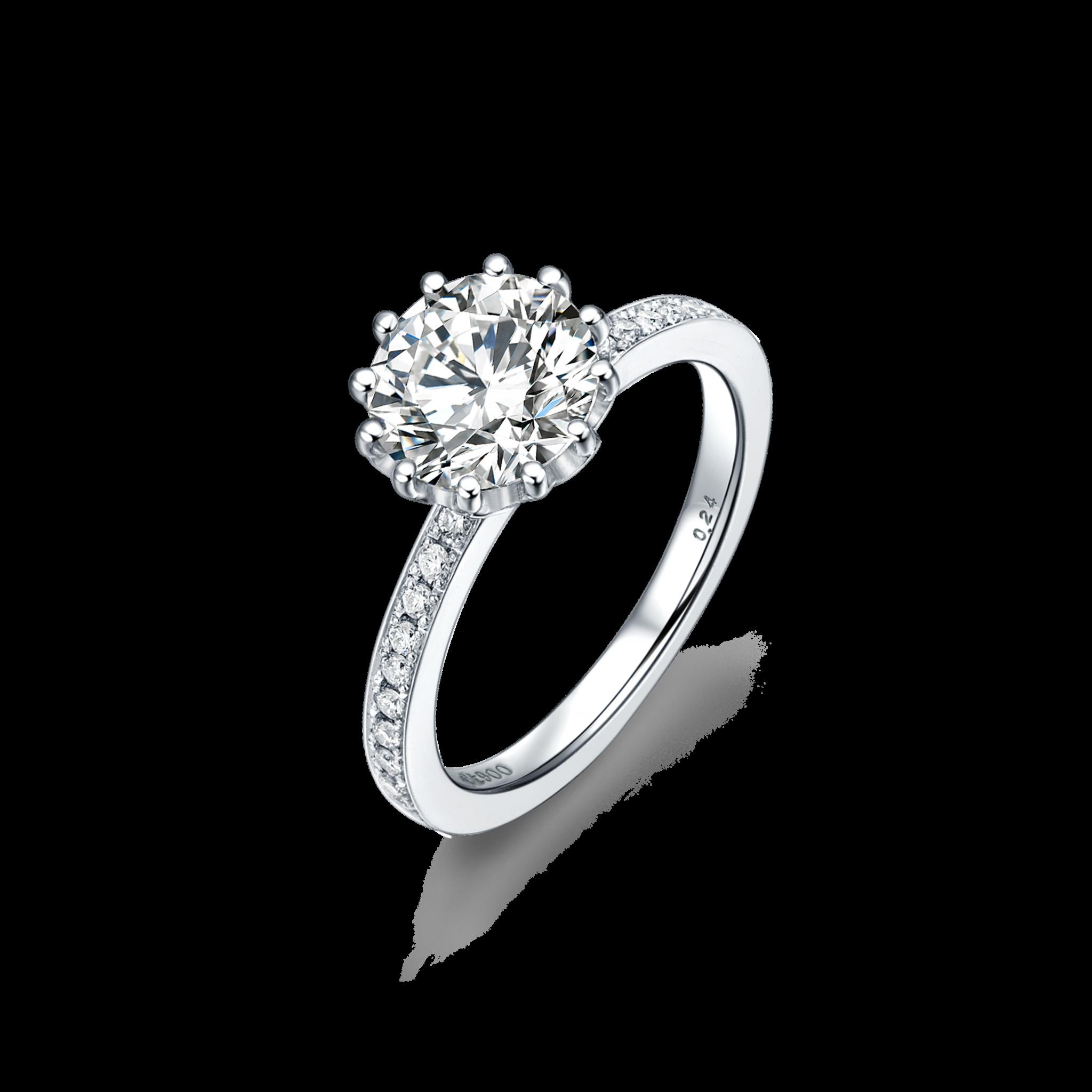 Magnolia Collection 900铂金单钻戒指2 戒托- ¥12399