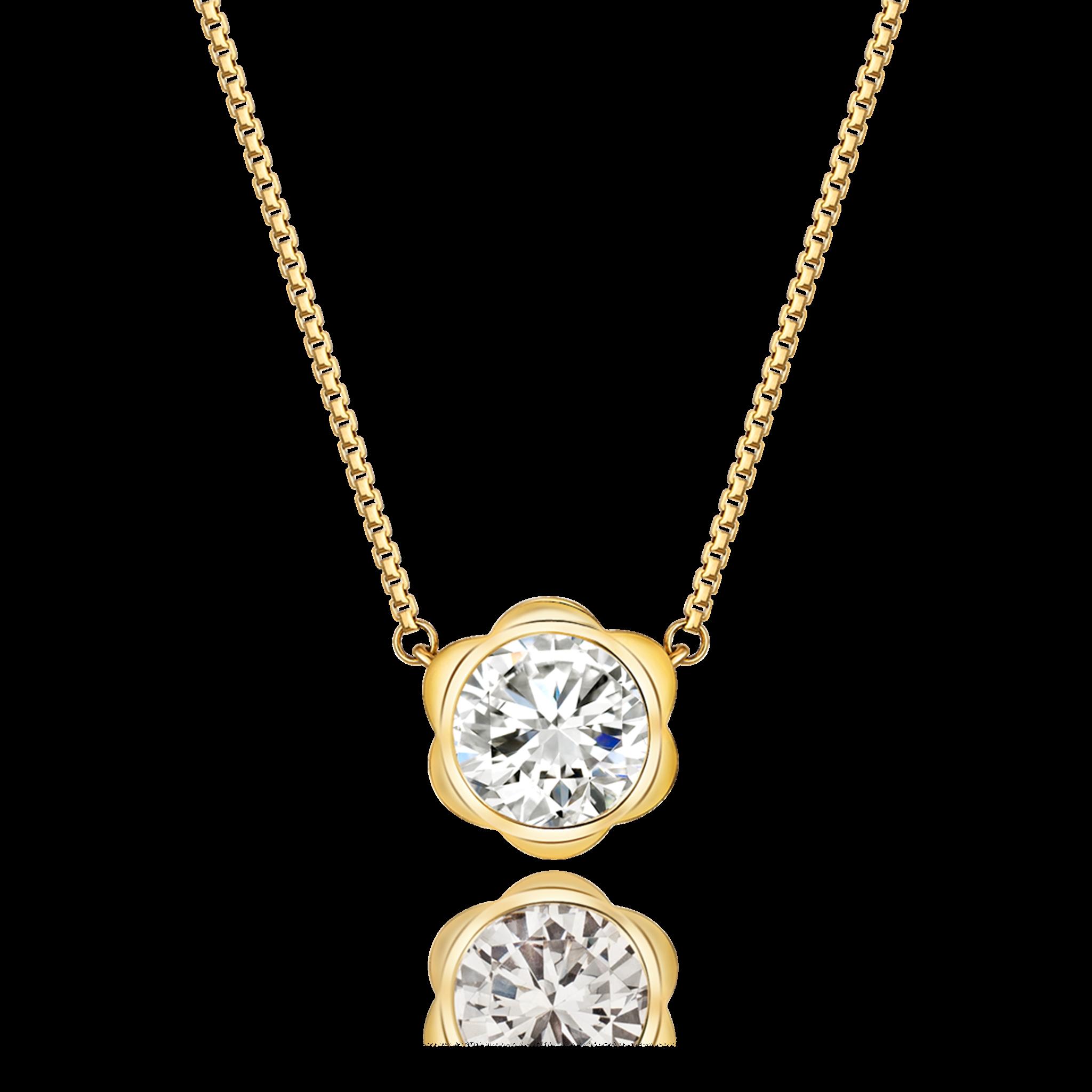 Magnolia Collection 18K黄金 单钻项链2 (10分钻- ¥3699 : 20分钻- ¥5799 : 30分- ¥8199)