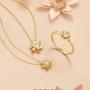 【新品】CIRCLE日本珠宝 18K金钻石项链女吊坠木兰系列锁骨链项链