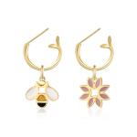 CIRCLE日本珠宝 18k金珐琅树枝耳环自然系列花鸟个性耳饰