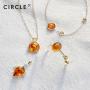 新品 CIRCLE珠宝 9K金欧泊琥珀海龟项链女 海洋系列颈链温暖沉静