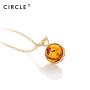 新品 CIRCLE珠宝 9K金海洋系列彩宝圆形琥珀项链女 复古臻美