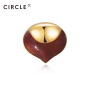 CIRCLE日本珠宝 18K金珐琅松鼠系列耳钉女个性轻奢耳饰