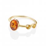 新品 CIRCLE珠宝 9K金海洋系列彩宝圆形镂空琥珀戒指女 复古臻美
