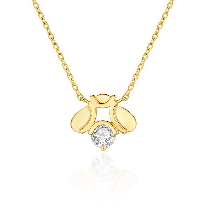 Bee系列18K金蜜锋钻石吊坠项链 RMB:5699 拷贝
