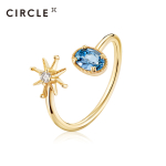 【21年新品】CIRCLE珠宝Blue系列9K黄金海蓝宝戒指