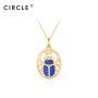 CIRCLE/缘点21年Blue-Scarabe系列银镀金圣甲虫青金石吊坠项链