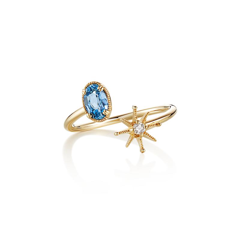 黄金海蓝宝戒指