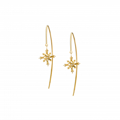 Flocon Collection 18K黄金 钻石雪花耳环 4399