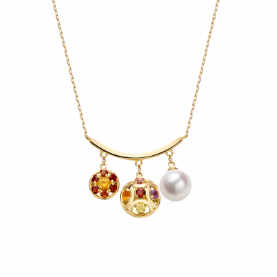 Boule de Noel Collection 18K黄金 珍珠 彩宝项链 8999