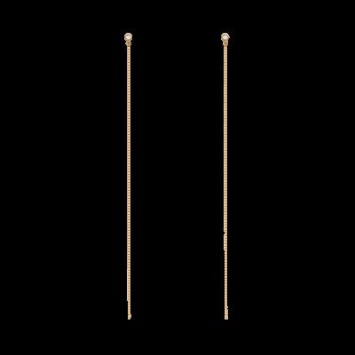 Magical SticK Collection 10K黄金 钻石直长链条耳环 2199