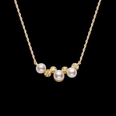 Spuma Collection 18K黄金钻石间隔3颗Akoya珍珠 项链 3699