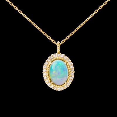 Precious Collection 18K黄金 椭圆型白欧泊多围一镶钻项链 6999