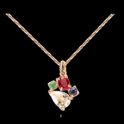 第一件珠宝 蜕变 Collection 18K黄金 彩宝四合一吊坠项链 (切割版) 5999