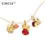 CIRCLE日本珠宝 18K金珐琅松鼠吊坠女手链项链两用轻奢