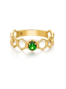 Ruche Collection 18K黄金沙弗莱石戒指 ¥3999