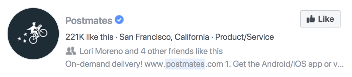 Postmates Facebook page search description on Facebook.
