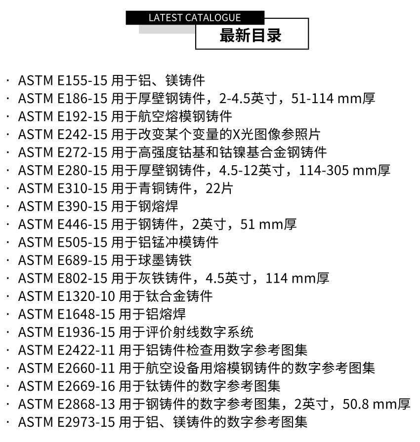 ASTM标准射线参考图谱最新标准目录展示