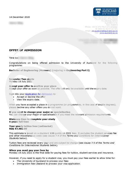 奥克兰大学-offer