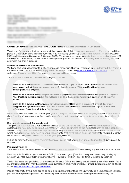 Bath-Conditional Offer