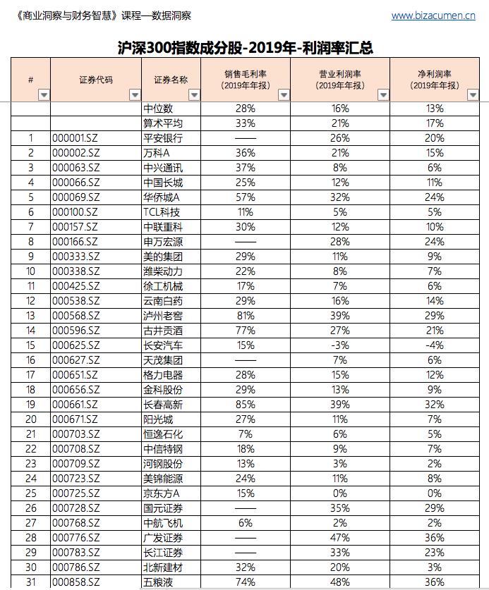 沪深300指数-2019年-利润率