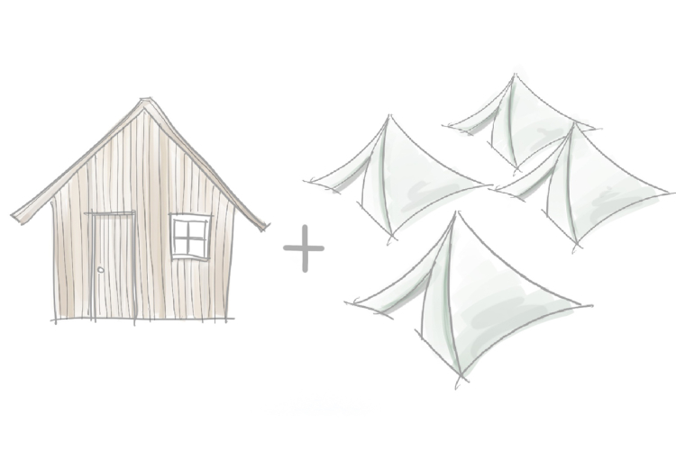 tents and a hut